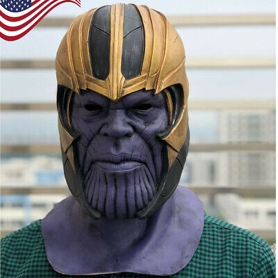 US! Thanos Helmet Avengers 4 Latex Full Head Mask Halloween Cosplay Mask Props - Halloween 4 Maske