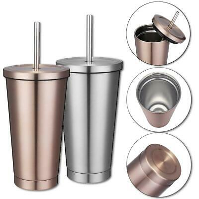 Cute Stainless Steel Vacuum Insulated Tumbler Travel Cup Mug With Straw 500ml - Cute Tumblers With Straws
