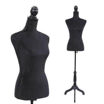 Black Female Mannequin Torso Clothing Display W Black Tripod Stand New