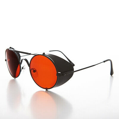 Black Steampunk Sunglass with Folding Side Shields Red Lens - Bram