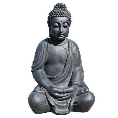 XXL Riesige Deko Asien Garten BUDDHA Figur Statue Skulptur FENG SHUI 52cm grau