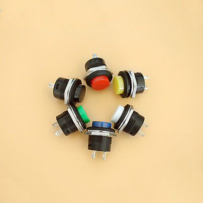 5x Normally Open 16mm Round Momentary 2 Pin Metal Push Button Switch 3a 250vac