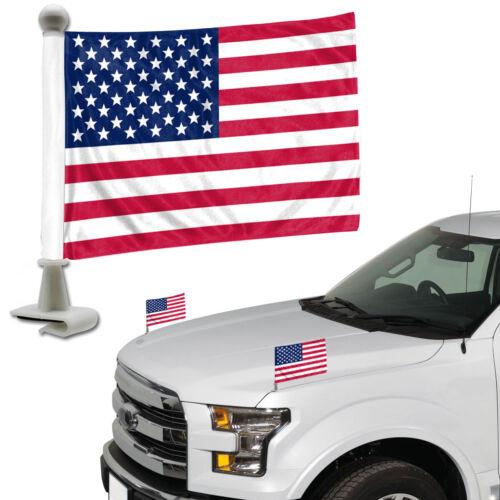 United States American Flag Set of 2 Ambassador Style Car Flags - Trunk Hood