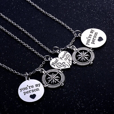2pc You're My Person Best Friends Necklace Compass Heart Friendship Sisters