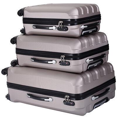 买便宜的eco pcs luggage travel set bag abs trolley suitcase tsa lock wheels gold
