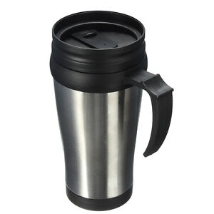 gobelet isotherme inox 450ml mug tasse voyage cafe the boisson chaude poignee ebay. Black Bedroom Furniture Sets. Home Design Ideas