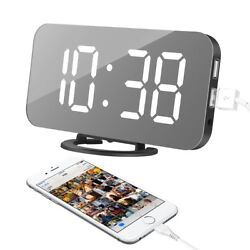 Alarm Clock, LED Digital Clock with 6.5 Large Display, Dual USB Charging Ports,