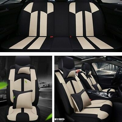 Beige Flax Car Seat Covers 5-Car Seat Cushion Cover Full Set Breathable Fashion
