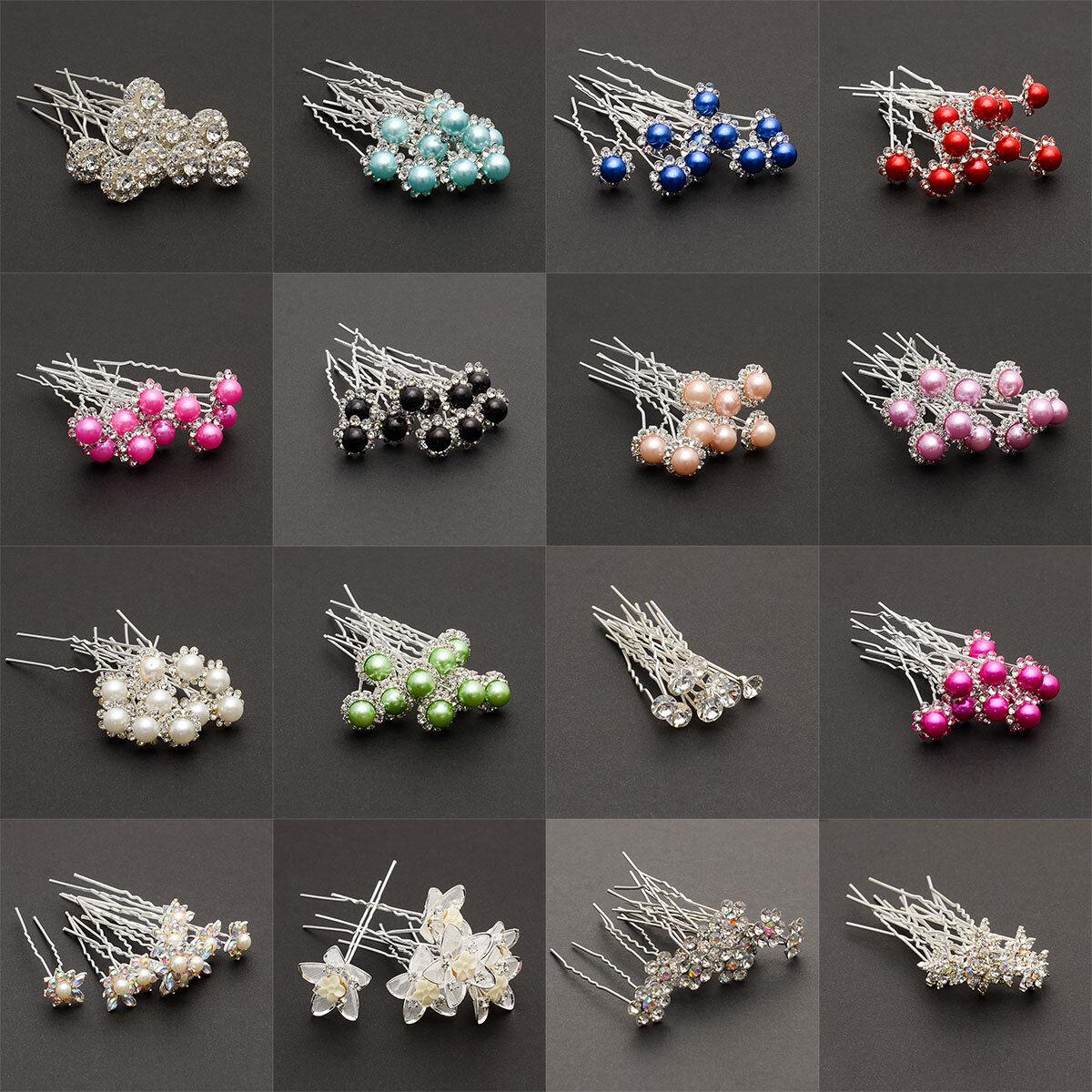 10 Haarnadel Haarnadeln für Brautfrisur Haarschmuck Strass Perlen Blumen Neu