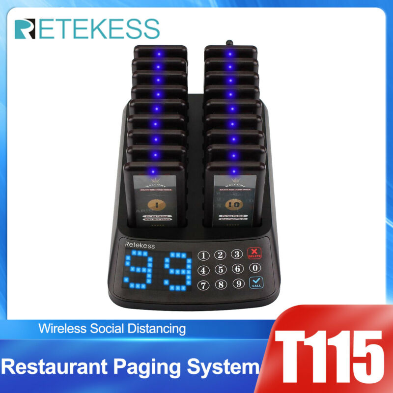 T115 Restaurant Bar Clinic Wireless Paging System Waterproof Keypad+18XPagers