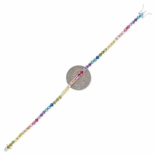 "925 Sterling Silver 3mm Multicolor Rainbow CZ Tennis Bracelet 7.25"" 3"
