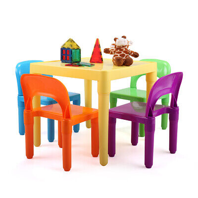 Kids Chair (New Kids Table and 4 Chairs Play Set Toddler Child Rainbow Plastic Chair Toy )