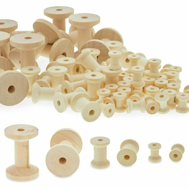 Unfinished Wooden Thread Spools for Crafts and Sewing (3 Sizes, 140 Pieces)