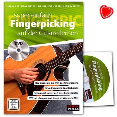 Super einfach Fingerpicking auf der Gitarre lernen - Lehrbuch, DVD, Notenklammer