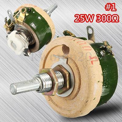 High Power Wirewound Potentiometer Rheostat Variable Resistor 25w 300 Ohm New