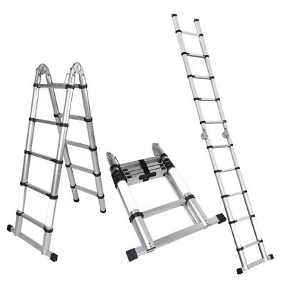 A-frame 10.5 Ft Aluminum Ladder Telescopic Extension Tall Multi Purpose En131