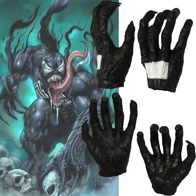 Venom Cosplay Gloves Costume Prop Black Claw Cover Halloween Terror Horror Adult