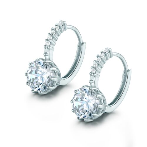 Unique 18k White Gold Flled White Sapphire Crystal Charm Hoop Earrings Jewelry