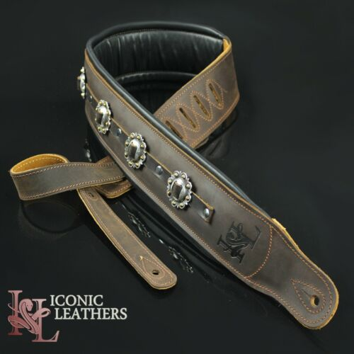 "Iconic CUSTOM SHOP Conchos 3.25"" Brown Leather Padded  Guitar Bass Strap #1"