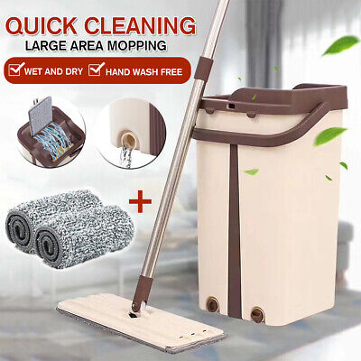 Self Cleaning Drying Wringing Mop and Bucket System Flat Floor Free Hand Wash  Dry Wash System