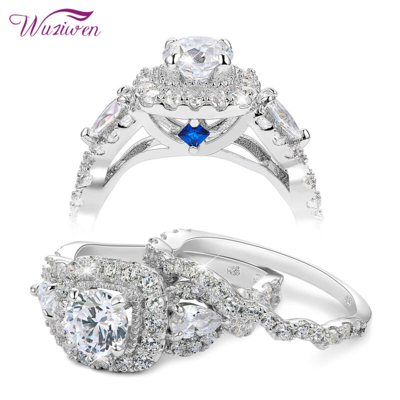 Wuziwen Wedding Engagement Ring Set 925 Sterling Silver 2.4ct Round Aaaa Cz Blue