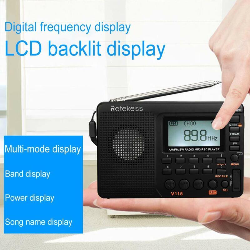 Retekess V115 AM/FM/SW Portable Radio MP3 Player Rechargeable REC Recorder Gift