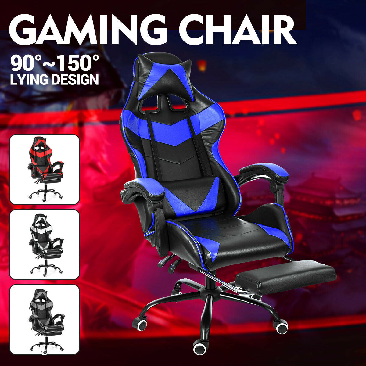 Executive Office Chair Racer Gaming Chair Computer Desk Seat Recliner Task Chair