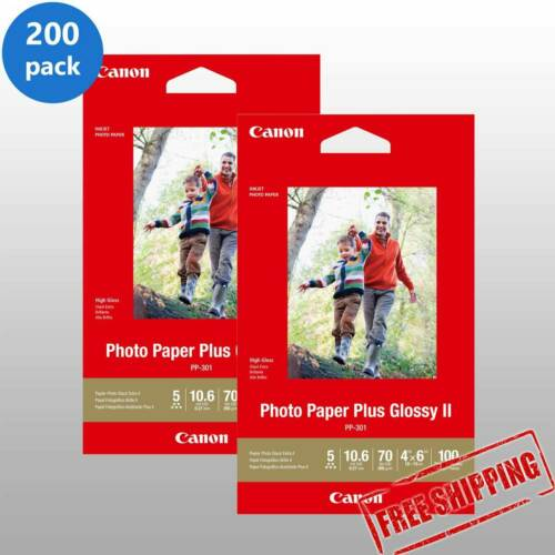 200 Canon Photo Paper Plus Glossy II Sheets 4 x 6A6 Postcard Inkjet PP-301