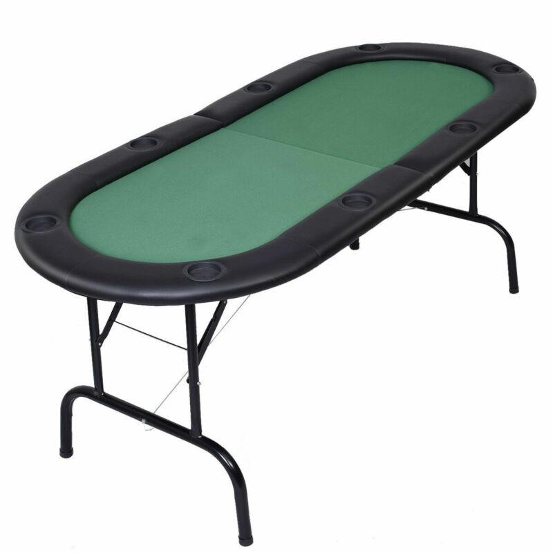 Foldable 8 Player Poker Table Casino Texas Holdem Folding Poker Play Table New