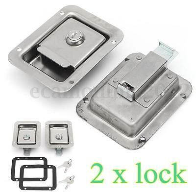2x Stainless Steel Paddle Door Lock Latch Handle Truck Tool Box Trailer With Key