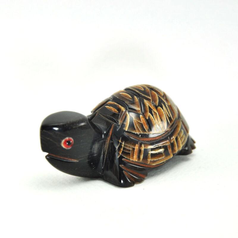 Vintage Turtle figurine statue hand carved sculpture scrimshaw craft handmade M