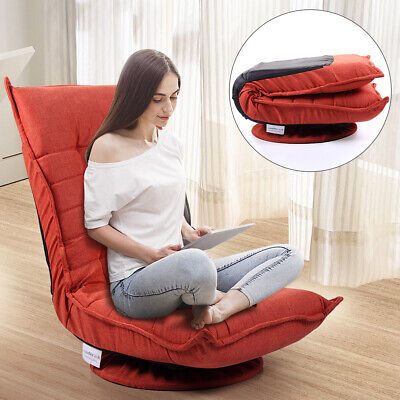 Cushion 5 Position - 360 Degree Swivel Chair Folding 5-Position Adjustable Lazy Sofa Chair Orange Red