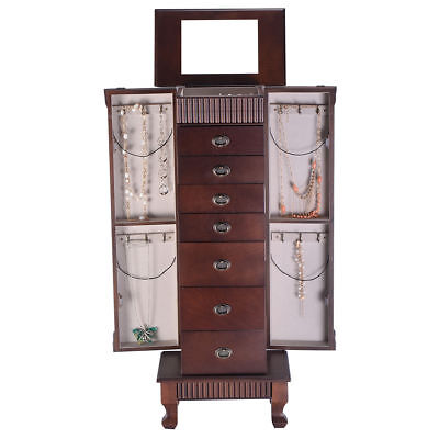 Jewelry Cabinet Armoire Box Storage Chest Stand Organizer Wood Christmas Gift - Chest Box