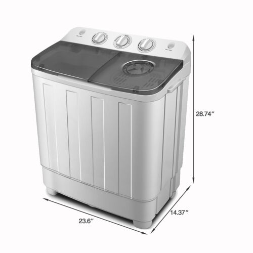 17lbs Portable Mini Twin Tub Compact Washing Machine Washer Spin Dryer W/ Hose