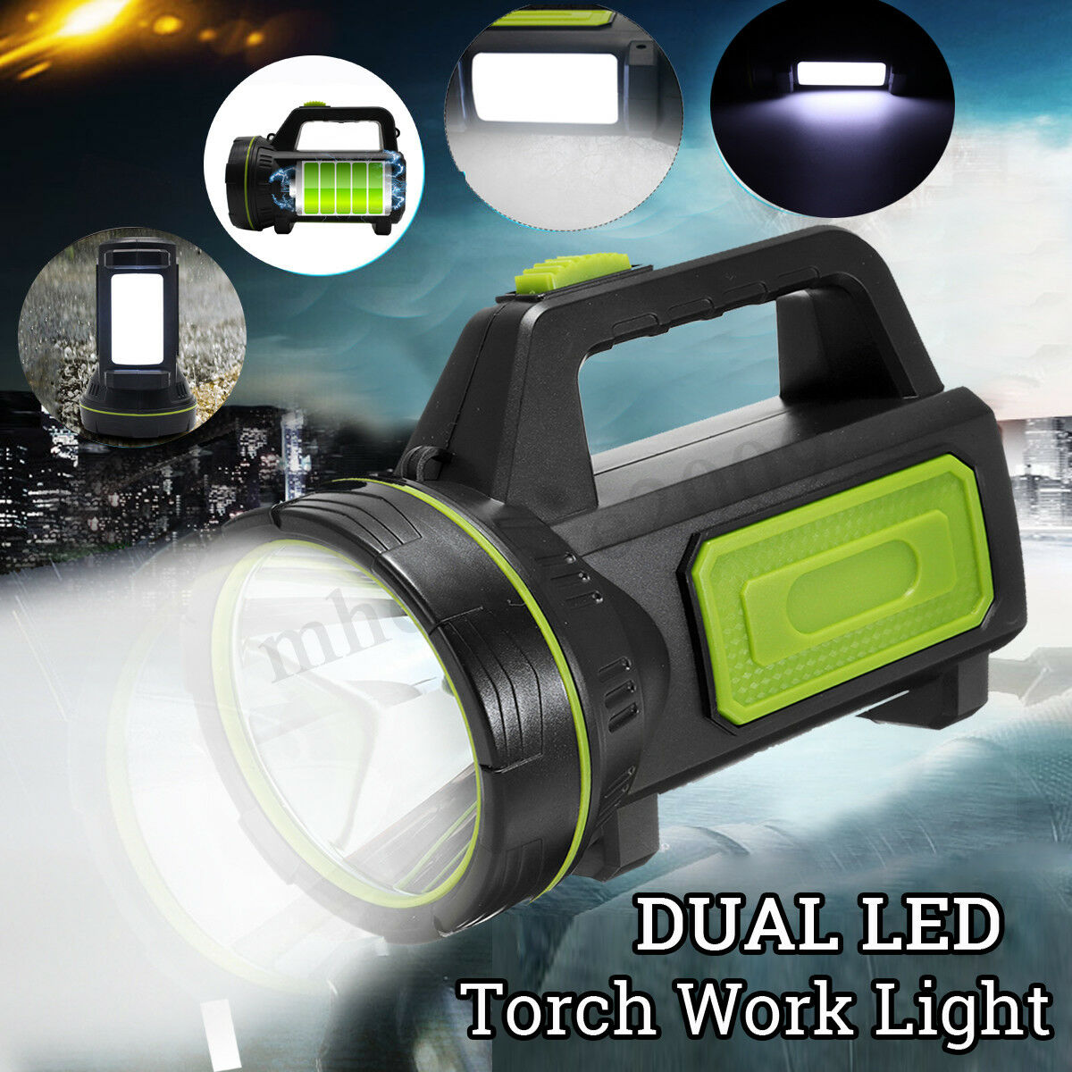 500W USB Rechargeable LED Work Light Torch 3000m Candle Spotlight Hand Lamp