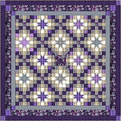 Quilt Kit/Mediteranean Nghts/Pre-cut fabric/Ready to Sew/Purple.Gray