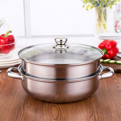 2 Tier 27.5cm Stainless Steel Food Steamer Pot Pan Vegetable