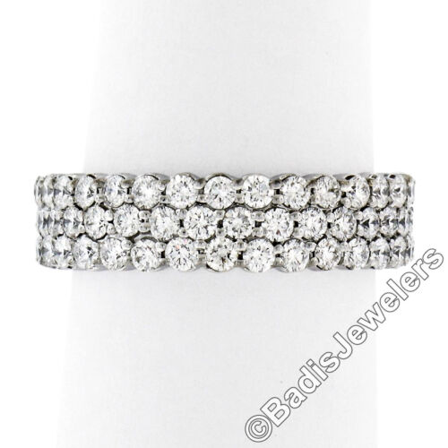 Solid 18k White Gold 1.65ctw E Vvs2 Round Brilliant Diamond Wide 3 Row Band Ring
