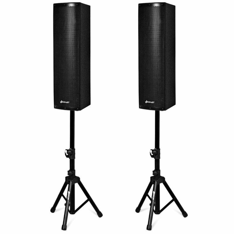 SONART 2000W 2PCS Bi-Amplified Bluetooth Speakers PA Outdoor w/3-Channel Stands