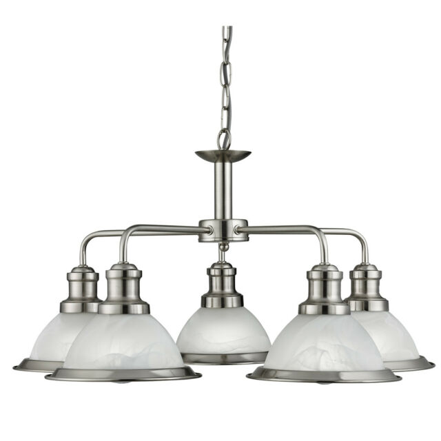 Searchlight 1595-5SS Bistro Satin Silver 5 Light Ceiling Fitting Acid Glass