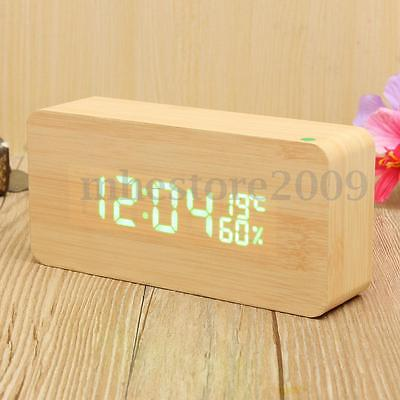 Wooden Digital LED Alarm Clock Calendar Temperature Time Humidity Voice Control
