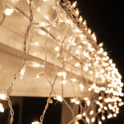 Halloween Icicle Lights (150 ct. Icicle String Lights Outdoor Christmas Icicle Lights, White Wire, 8.5)