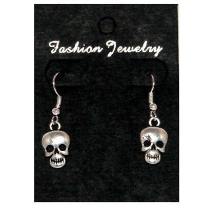 Boucles d'oreilles - tête de mort argenté - Halloween -  skull earrings
