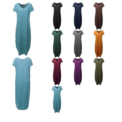 FashionOutfit Women's Short Sleeves Side Slit Pocket Long Loose Maxi Dress