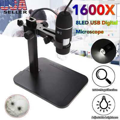 1600x 8led Digital Usb Zoom Digital Microscope Hand Held Biological Endoscope Us