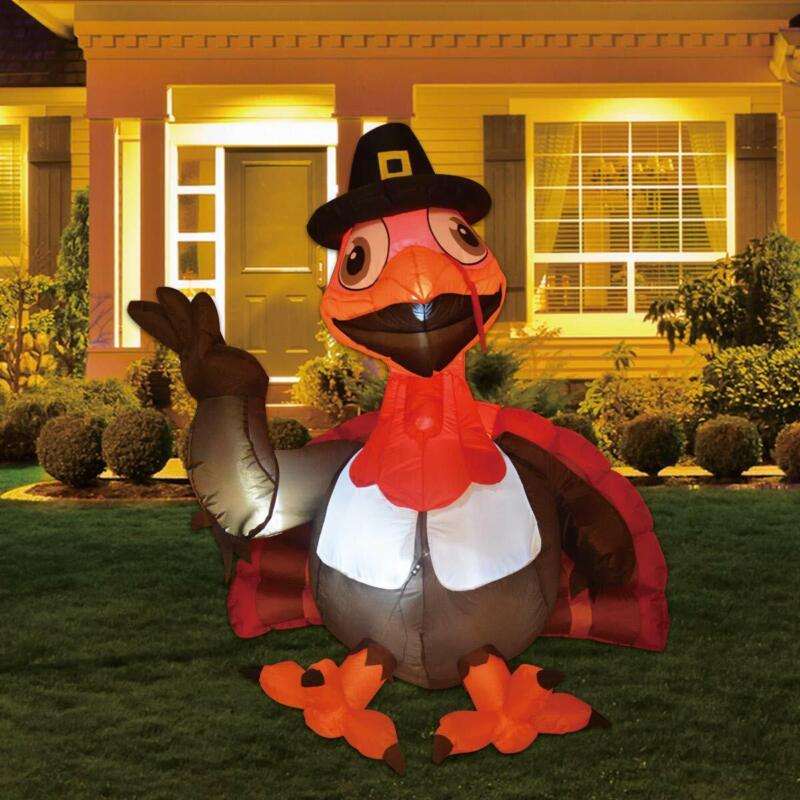 TURKEY INFLATABLE Thanksgiving Claus LED Lights Blowup Lawn Party Decoration