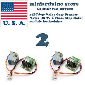 2pcs 28BYJ-48 Valve Gear Stepper Motor DC 5V 4 Phase Step Motor module Arduino