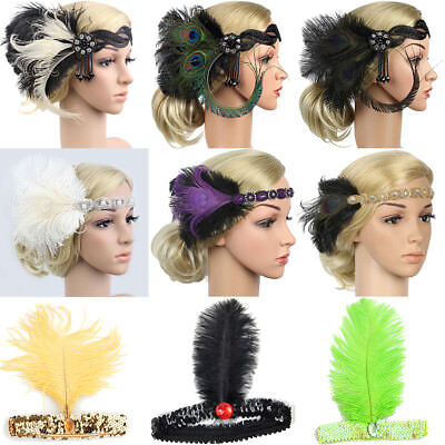 1920s Headband Feather 20's Bridal Great Gatsby Flapper Gangster Headpiece - 1920s Gangsters