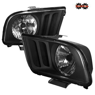 05-09 Ford Mustang Black Housing Headlights Saleen Convertible GT Cobra SVT 4.6