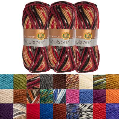 3pk Lion Brand Woolspun Acrylic & Wool Yarn Bulky #5 Knit Crocheting Skeins Soft